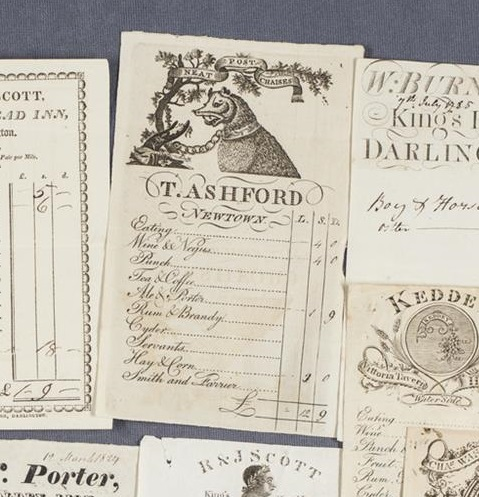 A collection of papers listing prices for food and drink at inns in the 18th and 19th century.