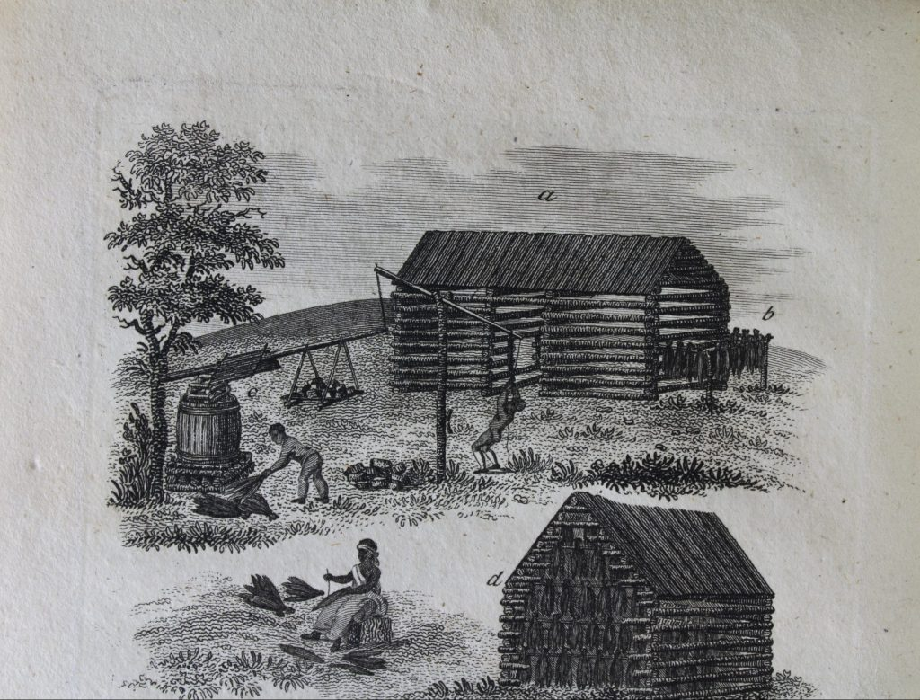 a woodcut image of enslaved men processing tobacco for shipment.