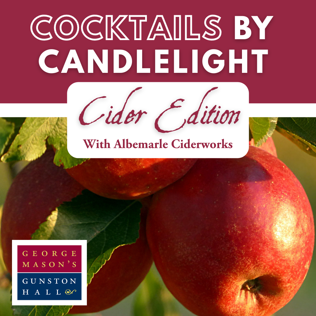 a red bar stating Cocktails by Candlelight: Cider Edition with Albemarle CiderWorks over apples hanging on a tree